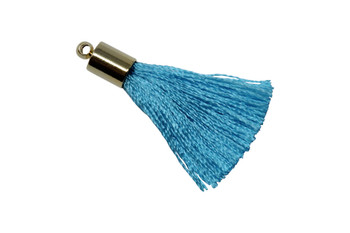 Turquoise 27-30mm Tassel with Gold Cap
