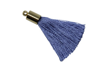 Periwinkle 27-30mm Tassel with Gold Cap