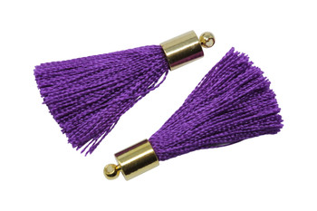 Purple 27-30mm Tassel with Gold Cap