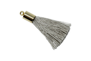 Grey 27-30mm Tassel with Gold Cap