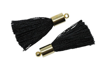 Black 27-30mm Tassel with Gold Cap