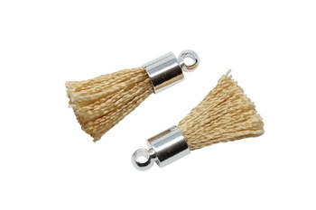 Beige 17-20mm Tassel with Silver Cap