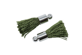 Olive 17-20mm Tassel with Silver Cap