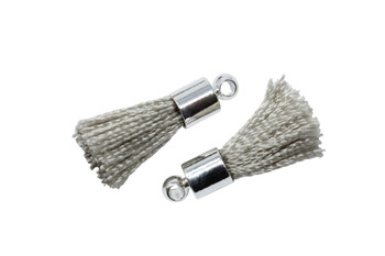 Grey 17-20mm Tassel with Silver Cap