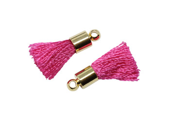Hot Pink 17-20mm Tassel with Gold Cap