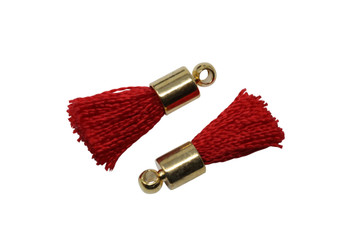 Crimson 17-20mm Tassel with Gold Cap