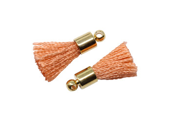 Coral 17-20mm Tassel with Gold Cap