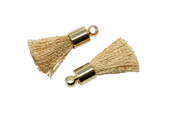Beige 17-20mm Tassel with Gold Cap