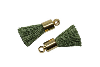 Olive 17-20mm Tassel with Gold Cap