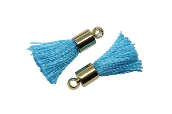 Turquoise 17-20mm Tassel with Gold Cap