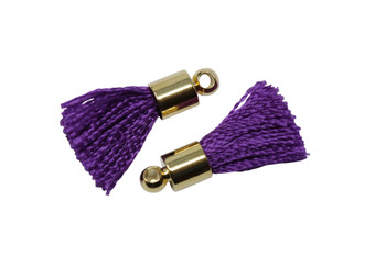 Purple 17-20mm Tassel with Gold Cap