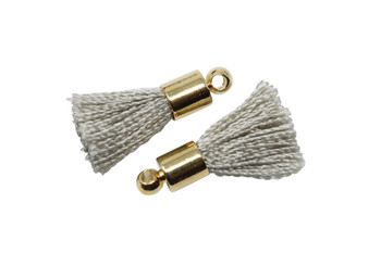 Grey 17-20mm Tassel with Gold Cap