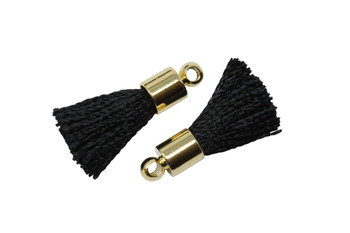 Black 17-20mm Tassel with Gold Cap