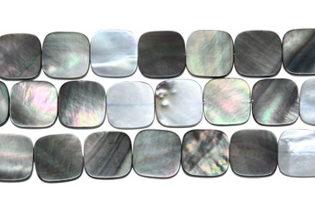 Natural Black Shell 12mm Flat Square
