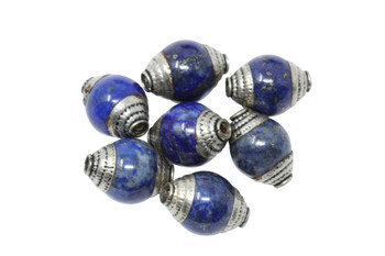 Lapis 10x15mm with Silver Tibetan Cap