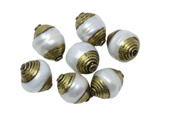 Pearl 10x15mm with Brass Tibetan Cap