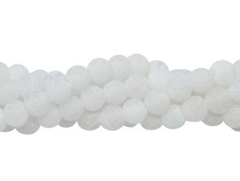 Cracked Agate White Matte 6mm Round