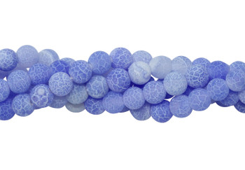 Cracked Agate light Blue Matte 6mm Round