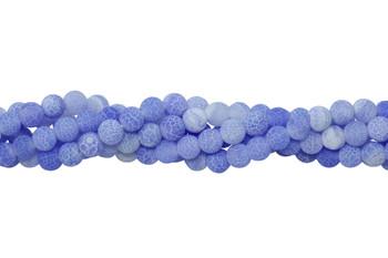 Cracked Agate light Blue Matte 6mm Round
