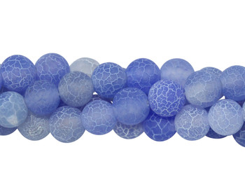 Cracked Agate light Blue Matte 8mm Round