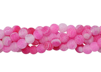 Cracked Agate Dyed Pink Matte 6mm Round