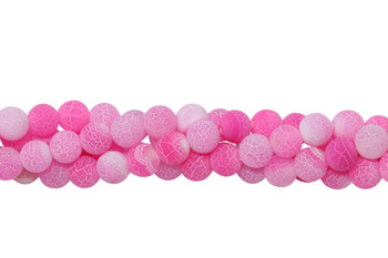 Cracked Agate Dyed Pink Matte 8mm Round