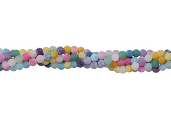 Cracked Agate Dyed Multi Color Matte 4mm Round