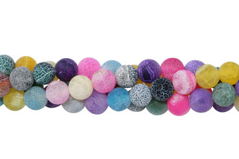 Cracked Agate Dyed Multi Color Matte 10mm Round