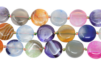 Cracked Agate Dyed Multi Color Polished 15mm Coin