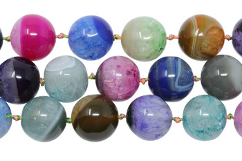 Cracked Agate Dyed Multi Color Polished 17mm Round