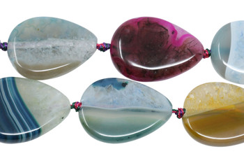 Cracked Agate Dyed Multi Color Polished 25x35mm Drop