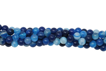Striped Blue Agate Polished 6mm Round