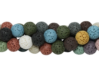 Mixed Lava Rock 8mm Round
