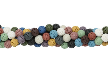 Mixed Lava Rock 6mm Round