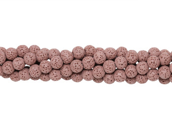 Dusty Pink Lava Rock 6mm Round