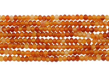 Natural Carnelian Polished 2.5x4mm Faceted Rondel
