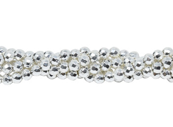 Sterling Silver Plated Hematite Polished 4mm Faceted Round