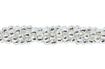 Sterling Silver Plated Hematite Polished 6mm Faceted Round