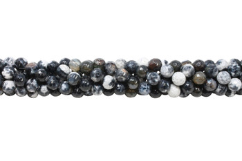 Black Fire Agate Polished 6mm Faceted Round