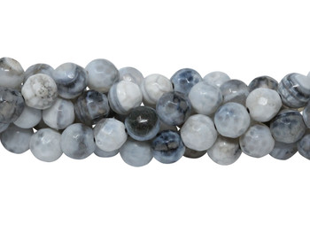 White Fire Agate Polished 6mm Faceted Round