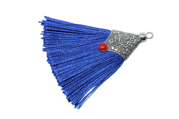Royal Blue 45mm Tassel with Flat Silver Cap