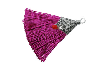 Fuchsia 45mm Tassel with Flat Silver Cap