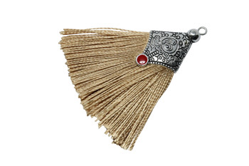 Beige 45mm Tassel with Flat Silver Cap