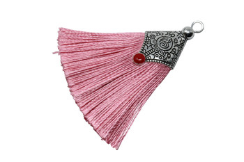 Pink 45mm Tassel with Flat Silver Cap