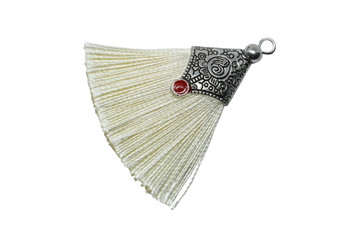Cream 45mm Tassel with Flat Silver Cap