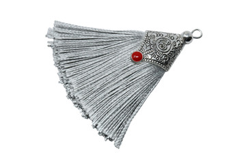 Grey 45mm Tassel with Flat Silver Cap