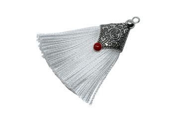 White 45mm Tassel with Flat Silver Cap