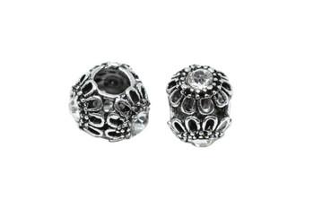 Stainless Steel 10mm Flower Rhinestone Bead