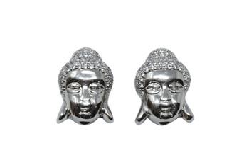 Silver 11x16mm Micro Pave Buddha Bead