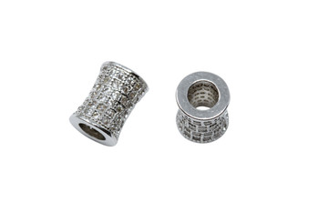 Silver 7x10mm Micro Pave Barrel Bead